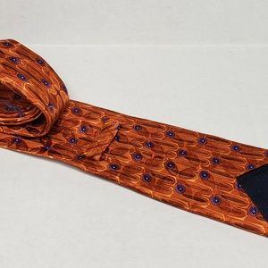 Zegna Mens Orange Flower Printed Tie